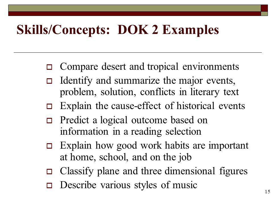 Skills/Concepts: DOK 2 Examples