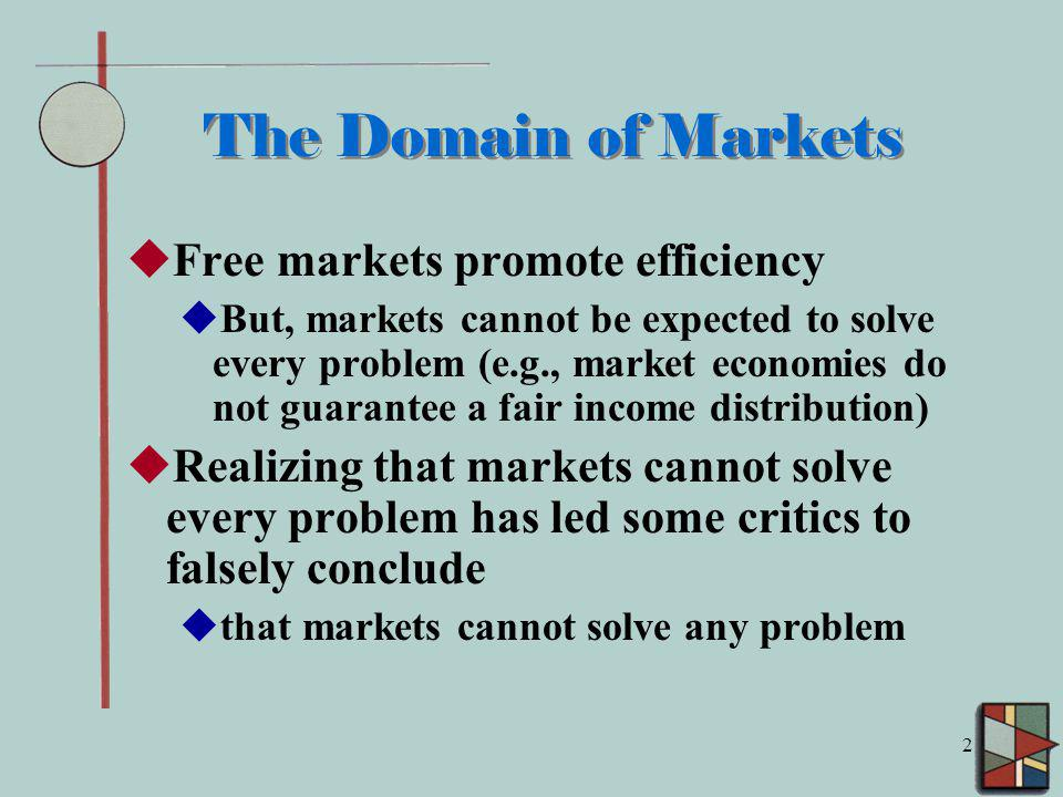 The Domain of Markets Free markets promote efficiency