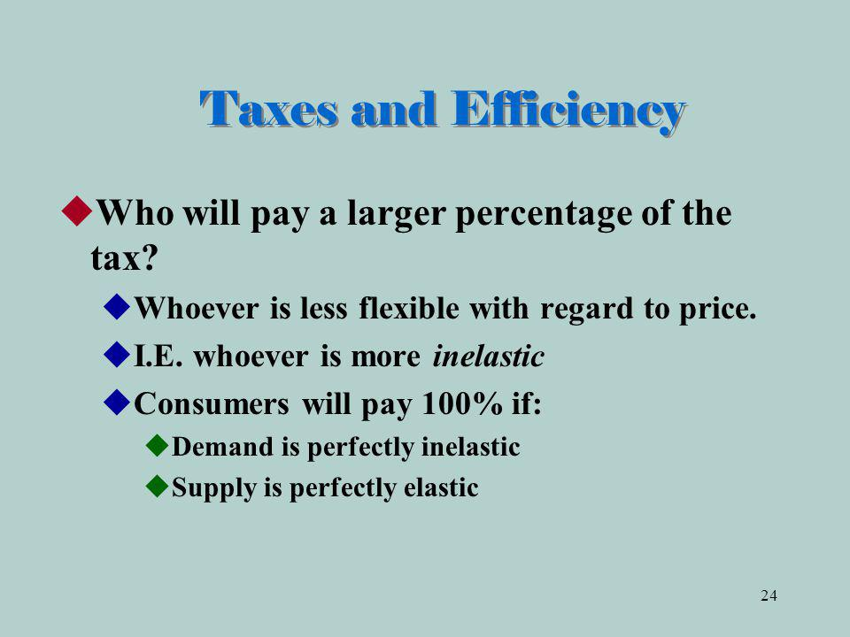 Taxes and Efficiency Who will pay a larger percentage of the tax