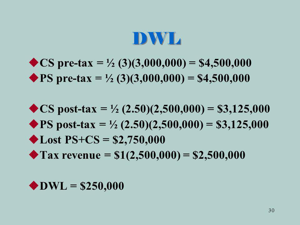 DWL CS pre-tax = ½ (3)(3,000,000) = $4,500,000