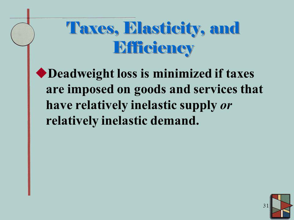 Taxes, Elasticity, and Efficiency