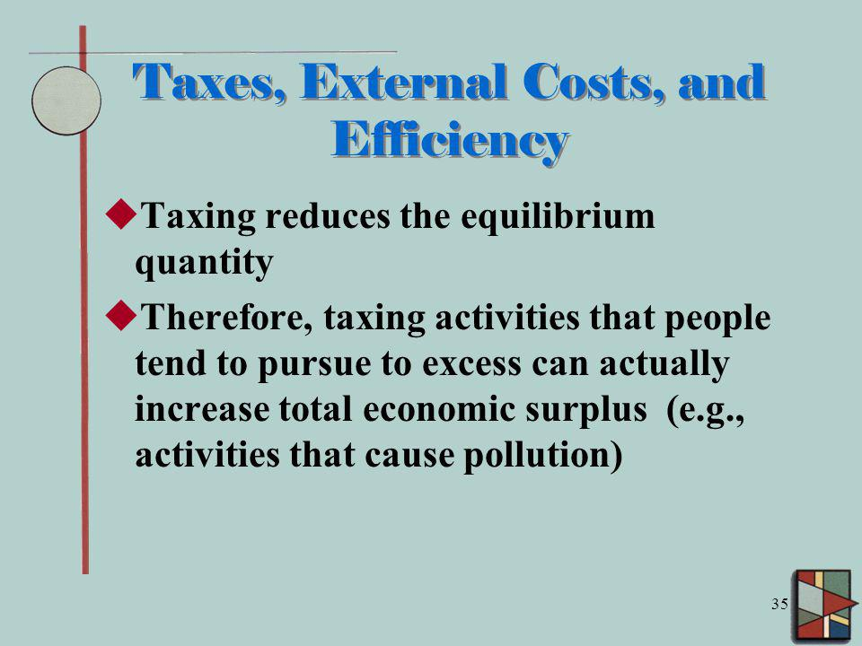 Taxes, External Costs, and Efficiency