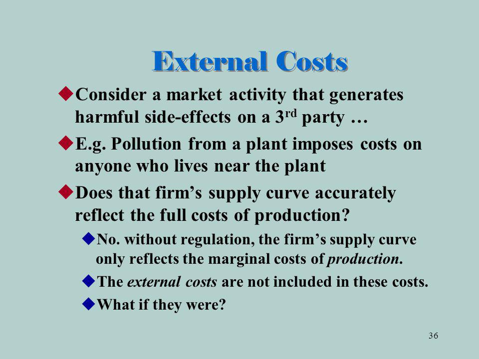 External Costs Consider a market activity that generates harmful side-effects on a 3rd party …