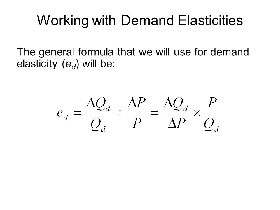 Working with Demand Elasticities