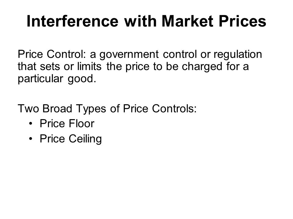 Interference with Market Prices