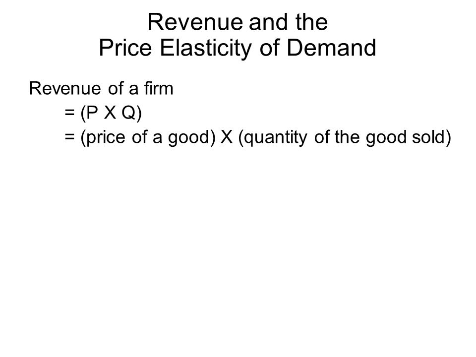 Revenue and the Price Elasticity of Demand