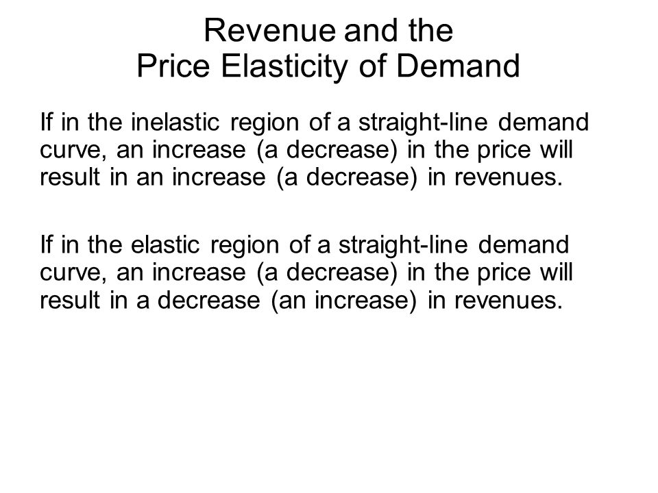 Revenue and the Price Elasticity of Demand