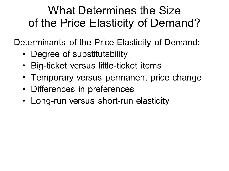 What Determines the Size of the Price Elasticity of Demand