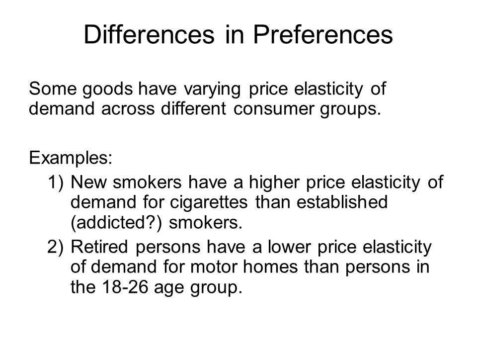 Differences in Preferences