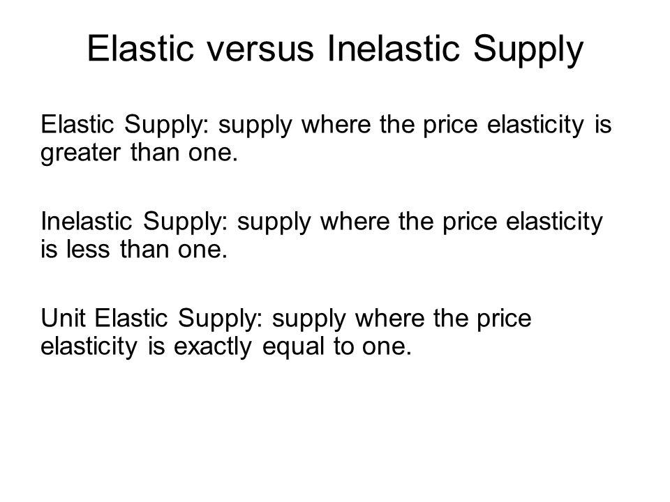 Elastic versus Inelastic Supply