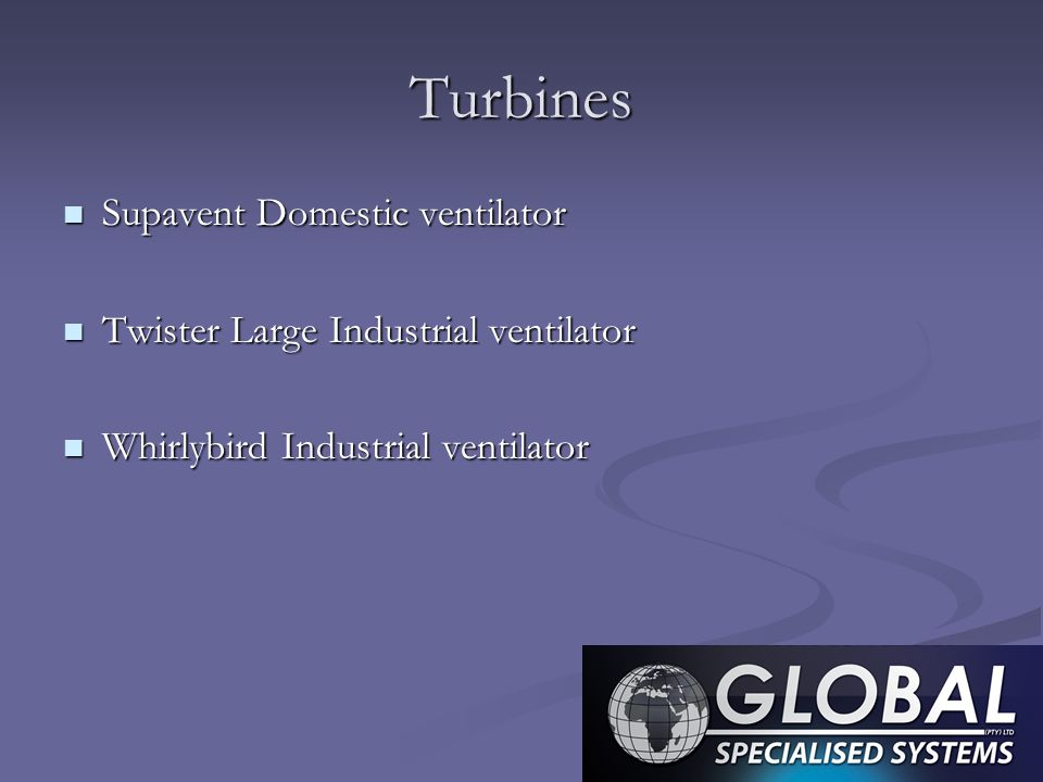 Turbines Supavent Domestic ventilator