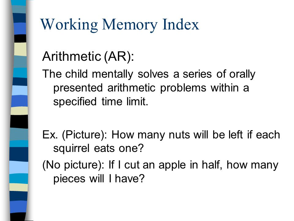 Working Memory Index Arithmetic (AR):