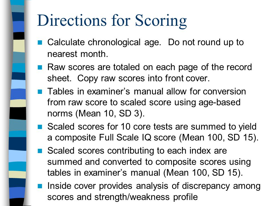 Directions for Scoring