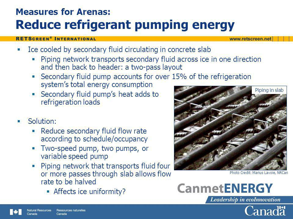 Measures for Arenas: Reduce refrigerant pumping energy