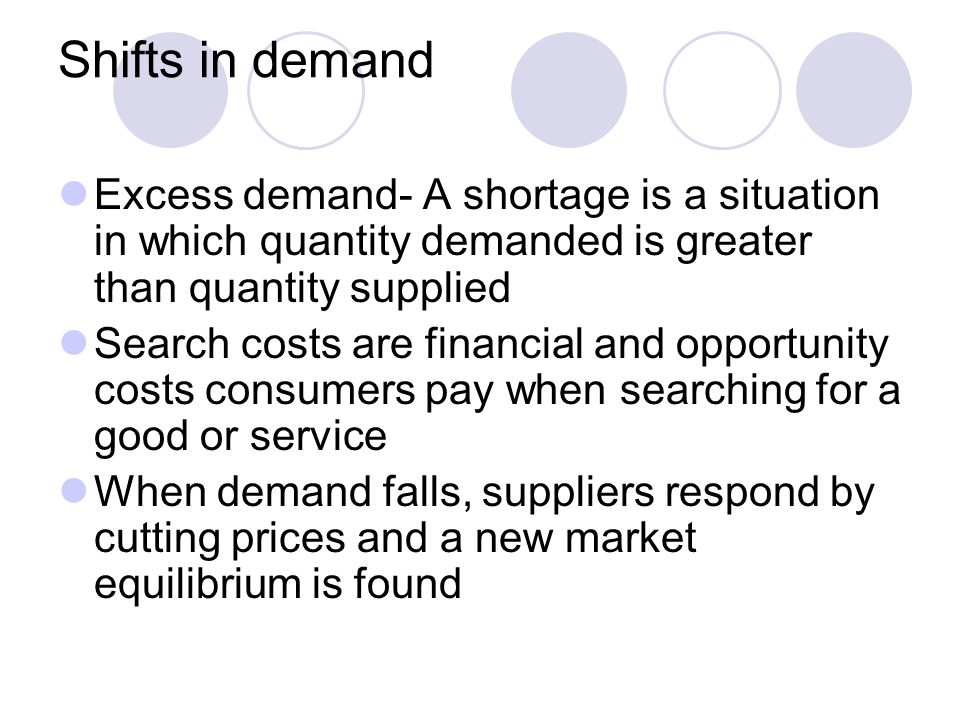 Shifts in demand Excess demand- A shortage is a situation in which quantity demanded is greater than quantity supplied.