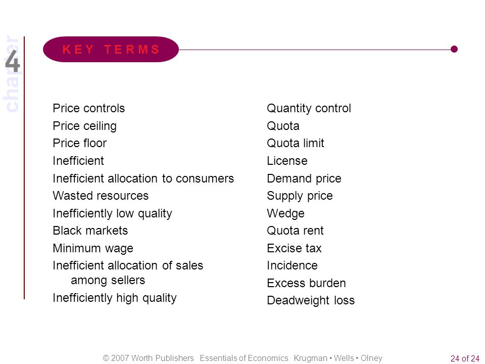 K E Y T E R M S Price controls. Price ceiling. Price floor. Inefficient. Inefficient allocation to consumers.