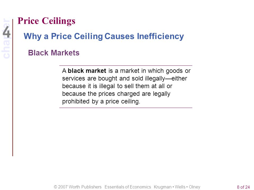 Price Ceilings Why a Price Ceiling Causes Inefficiency Black Markets