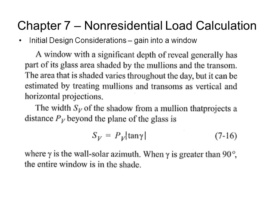 Chapter 7 – Nonresidential Load Calculation