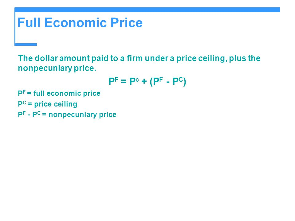 Full Economic Price PF = Pc + (PF - PC)