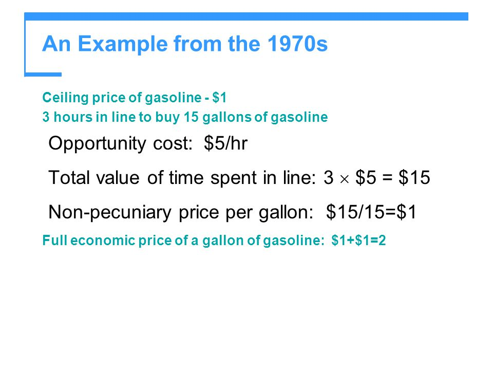 An Example from the 1970s Opportunity cost: $5/hr