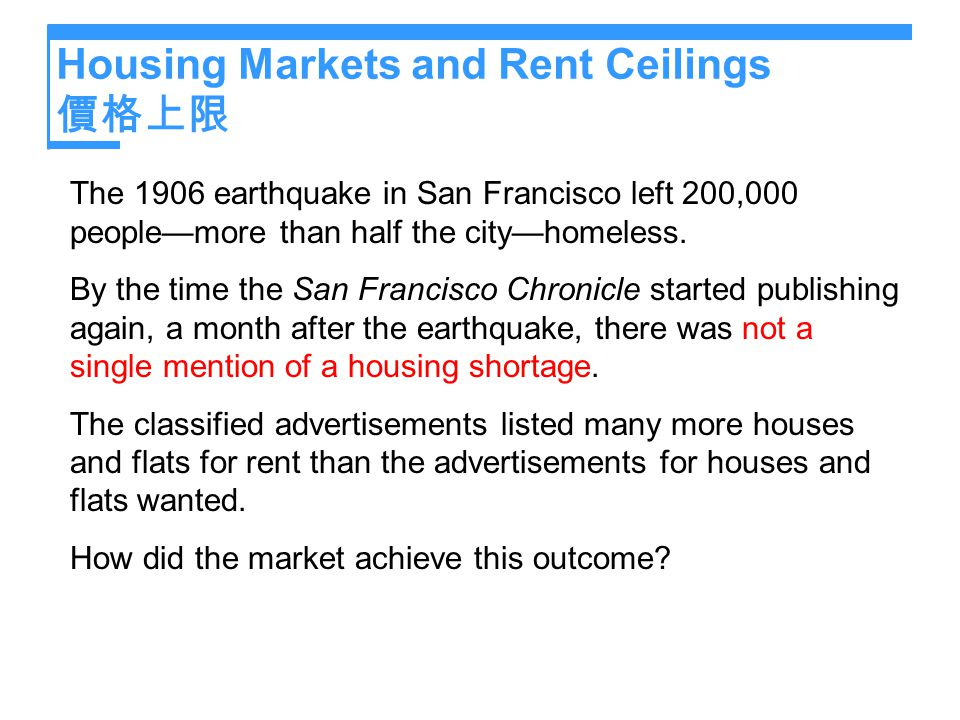 Housing Markets and Rent Ceilings 價格上限