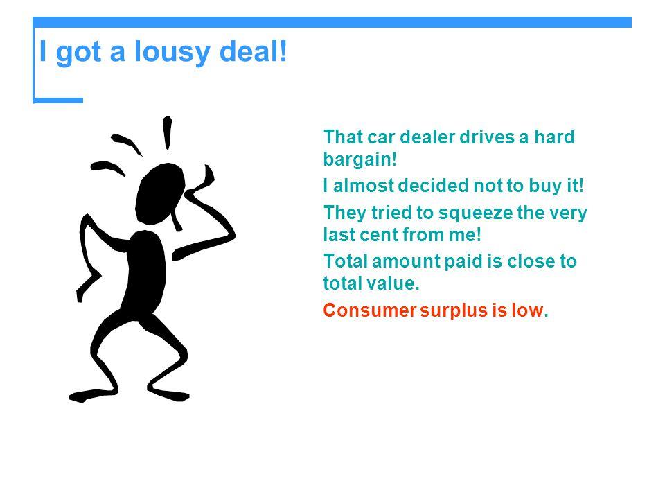 I got a lousy deal! That car dealer drives a hard bargain!