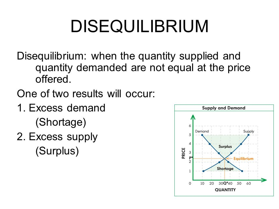 DISEQUILIBRIUM Disequilibrium: when the quantity supplied and quantity demanded are not equal at the price offered.