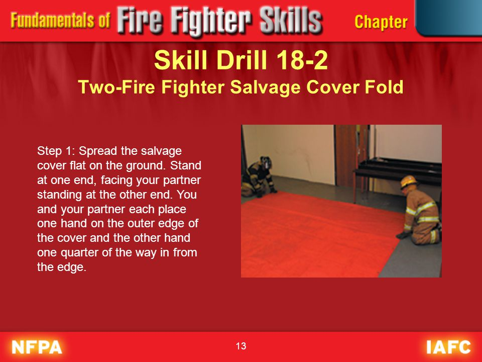 Skill Drill 18-2 Two-Fire Fighter Salvage Cover Fold