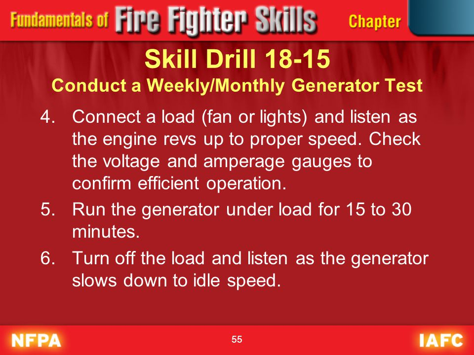Skill Drill 18-15 Conduct a Weekly/Monthly Generator Test