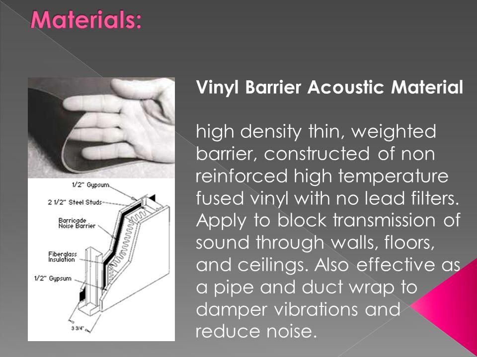 Materials: Vinyl Barrier Acoustic Material