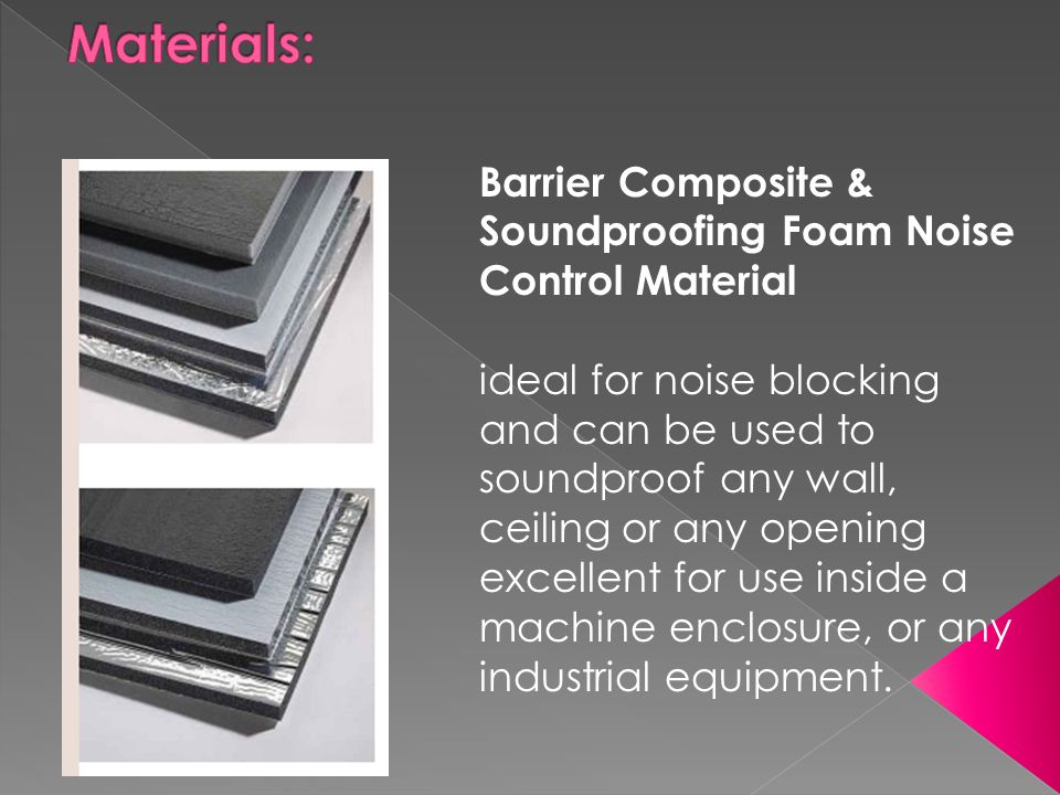 Materials: Barrier Composite & Soundproofing Foam Noise Control Material.