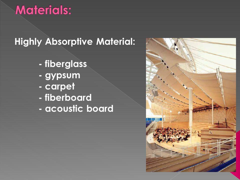Materials: Highly Absorptive Material: - fiberglass - gypsum - carpet