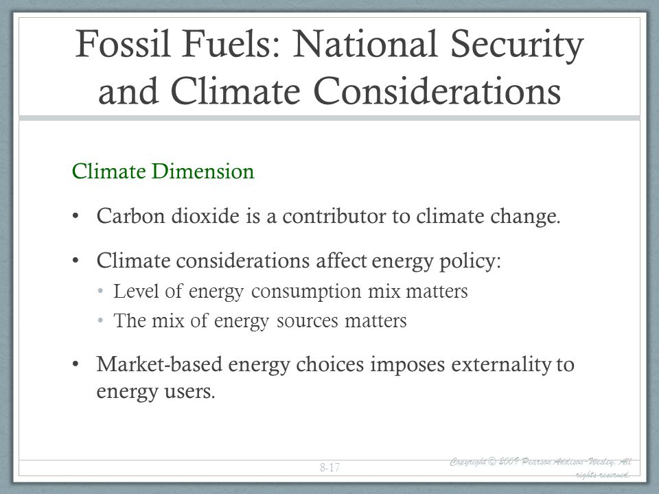 Fossil Fuels: National Security and Climate Considerations