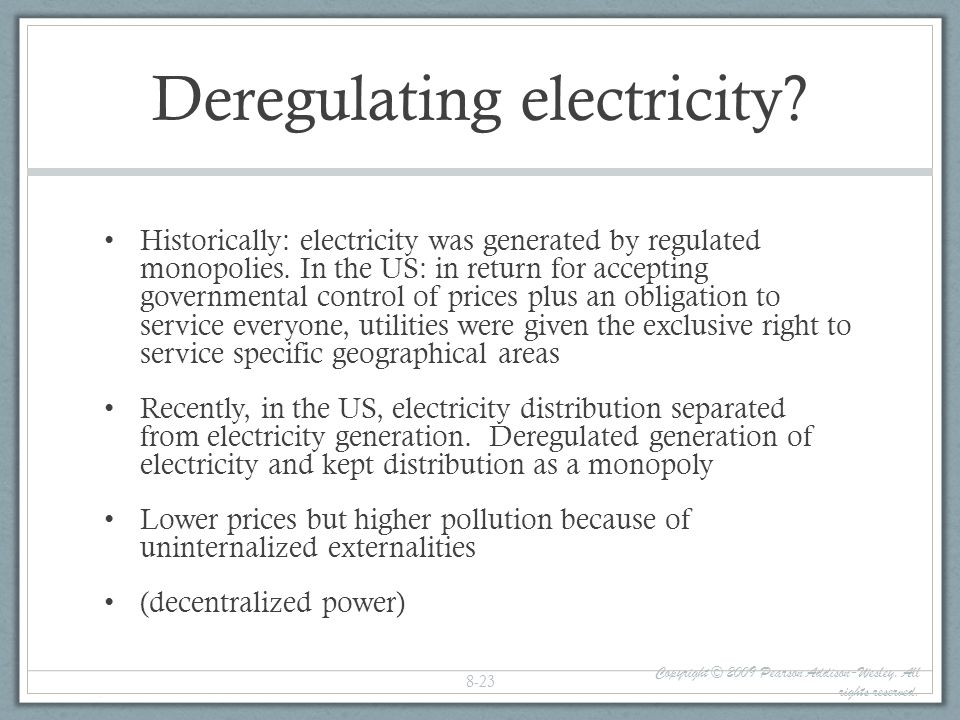 Deregulating electricity