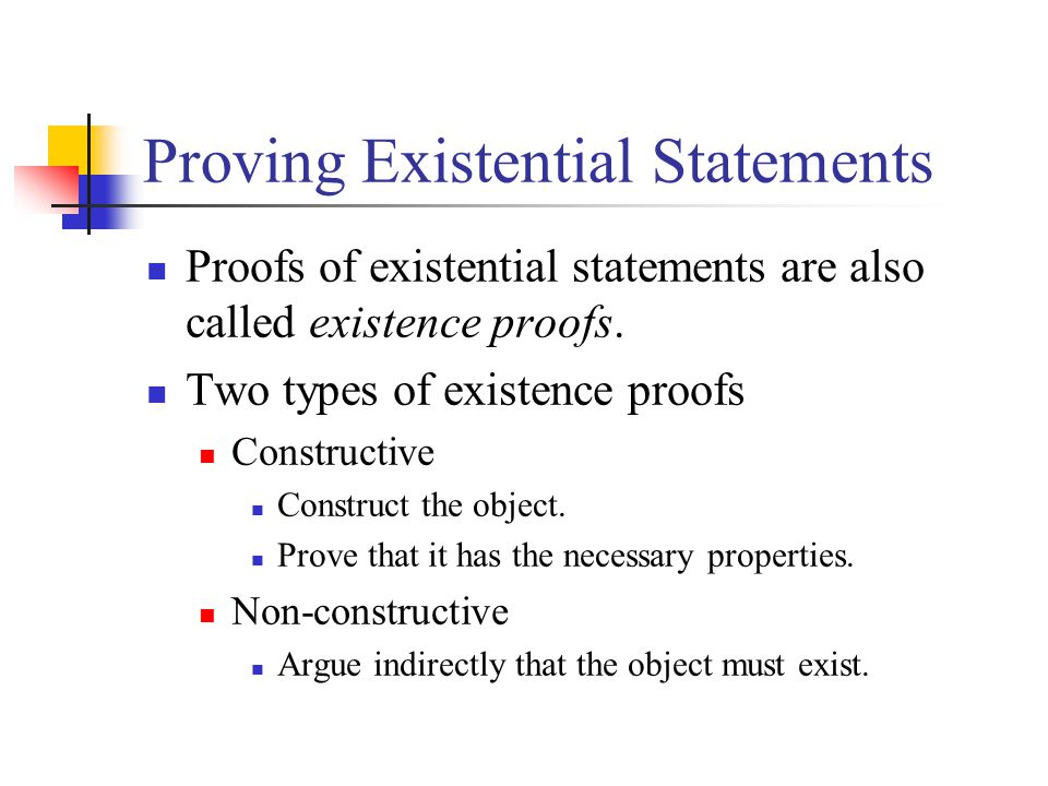 Proving Existential Statements