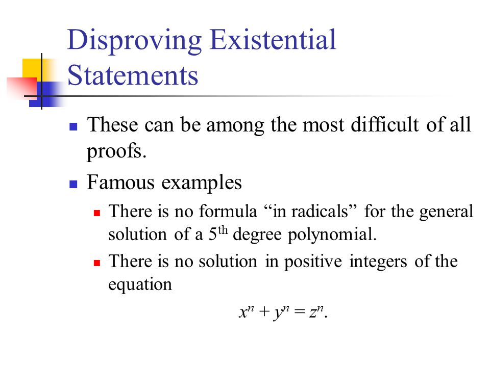 Disproving Existential Statements