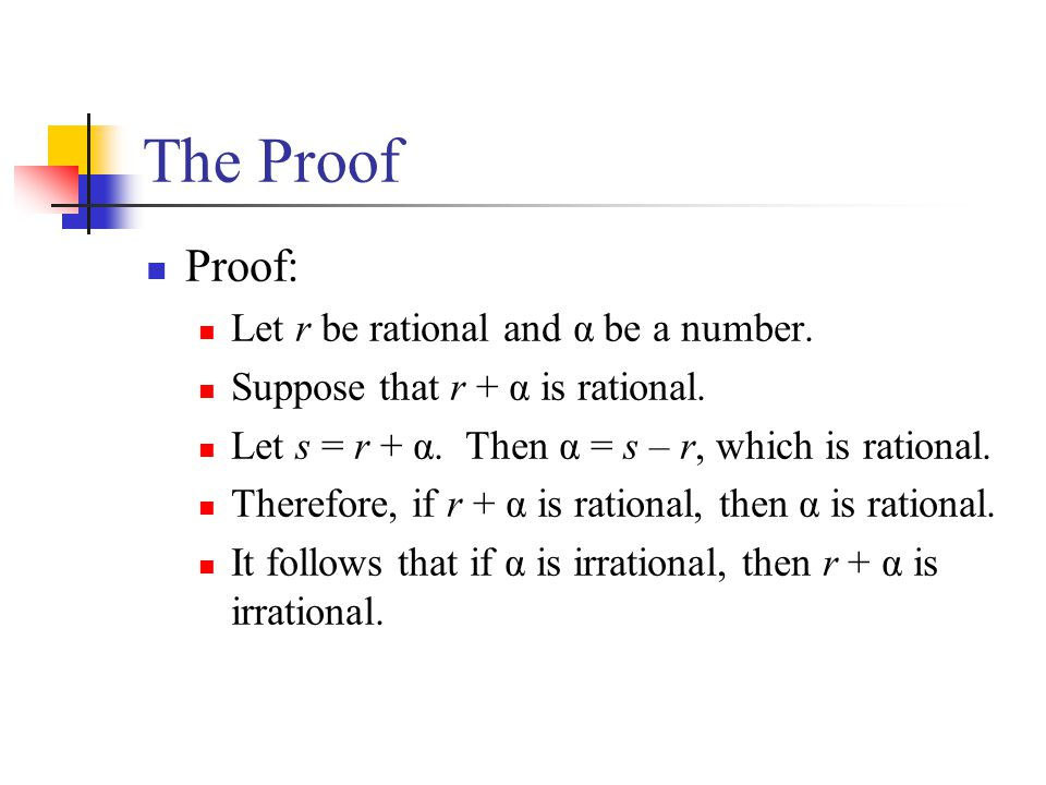 The Proof Proof: Let r be rational and α be a number.