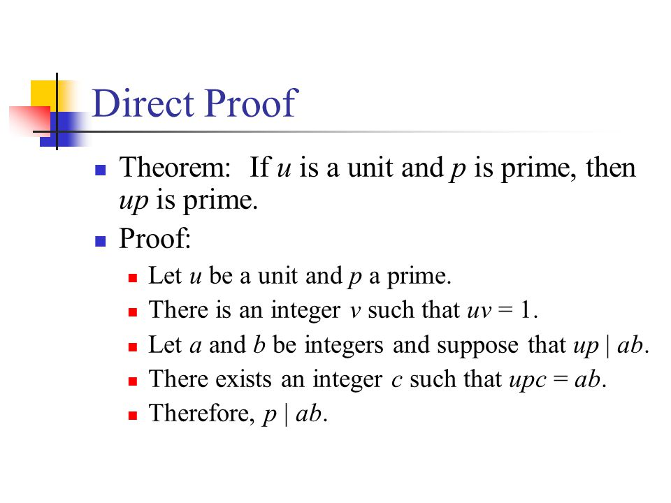 Direct Proof Theorem: If u is a unit and p is prime, then up is prime.