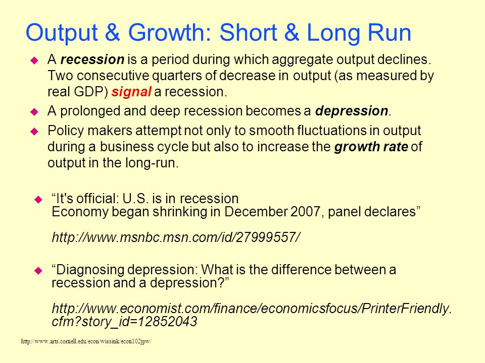 Output & Growth: Short & Long Run
