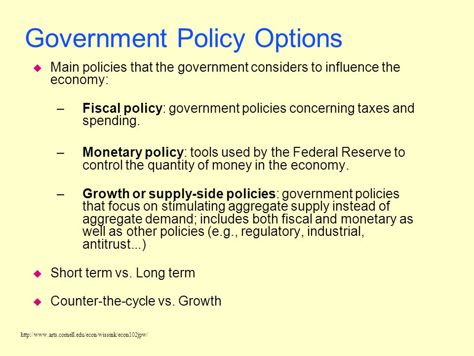 Government Policy Options