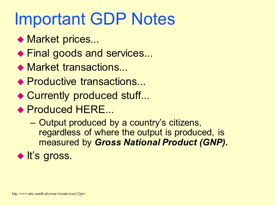 Important GDP Notes Market prices... Final goods and services...