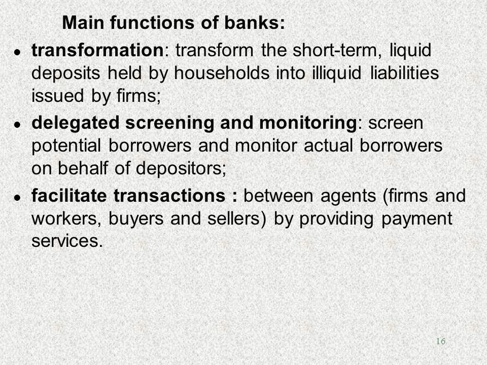 Main functions of banks:
