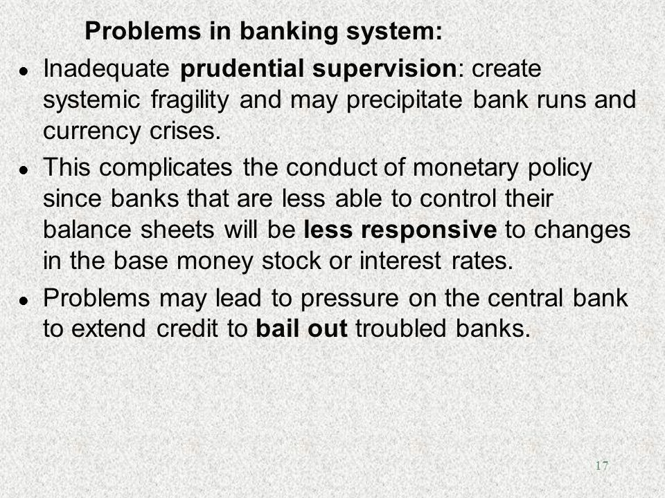 Problems in banking system: