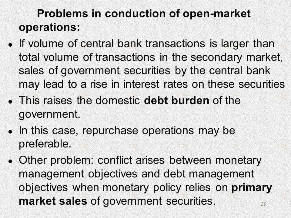 Problems in conduction of open-market operations: