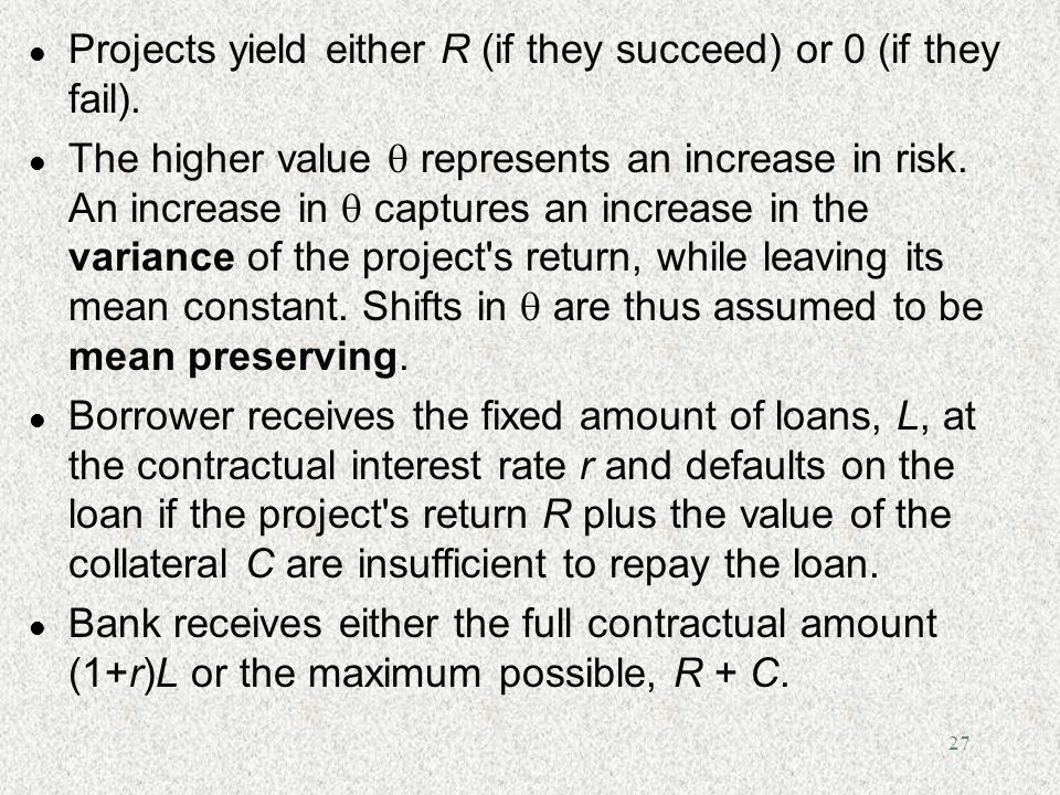 Projects yield either R (if they succeed) or 0 (if they fail).
