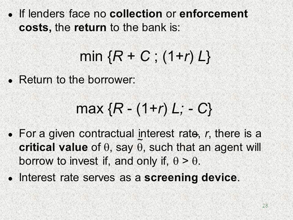 min {R + C ; (1+r) L} max {R - (1+r) L; - C}