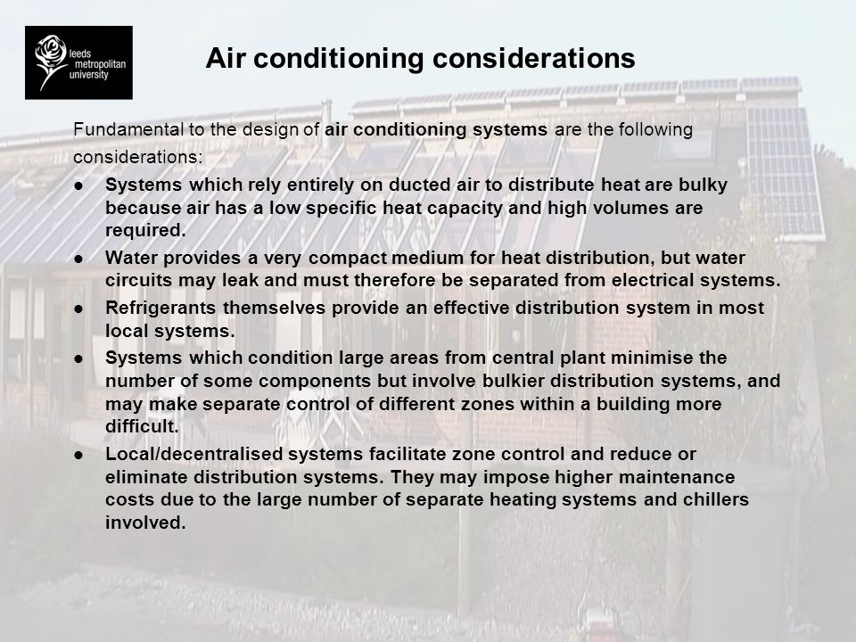 Air conditioning considerations