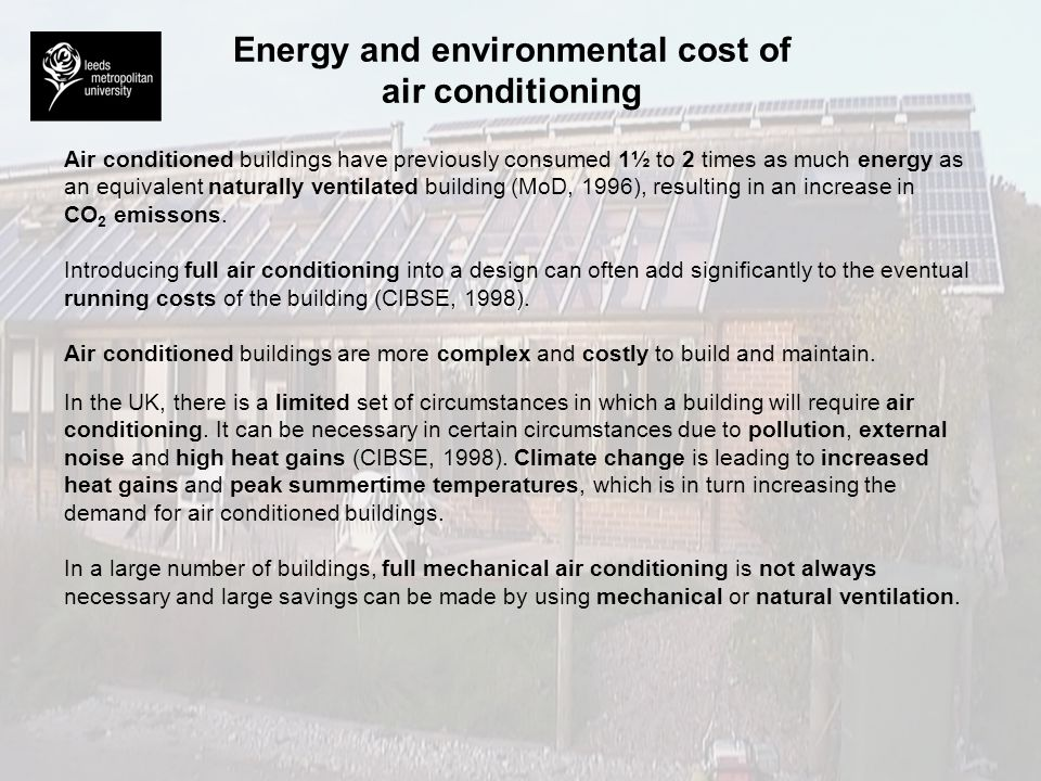 Energy and environmental cost of air conditioning