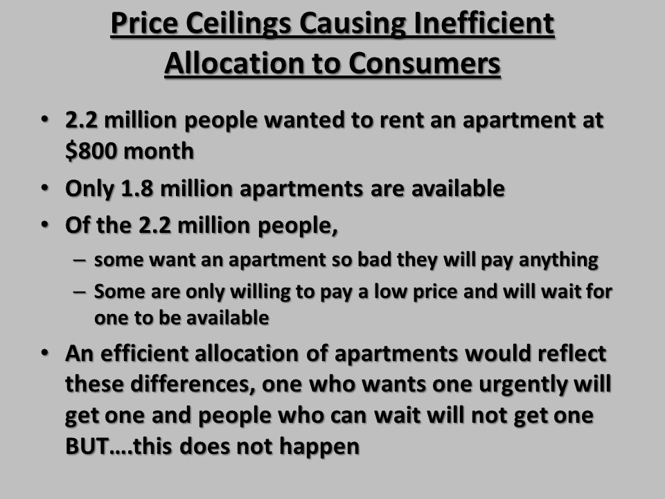 Price Ceilings Causing Inefficient Allocation to Consumers