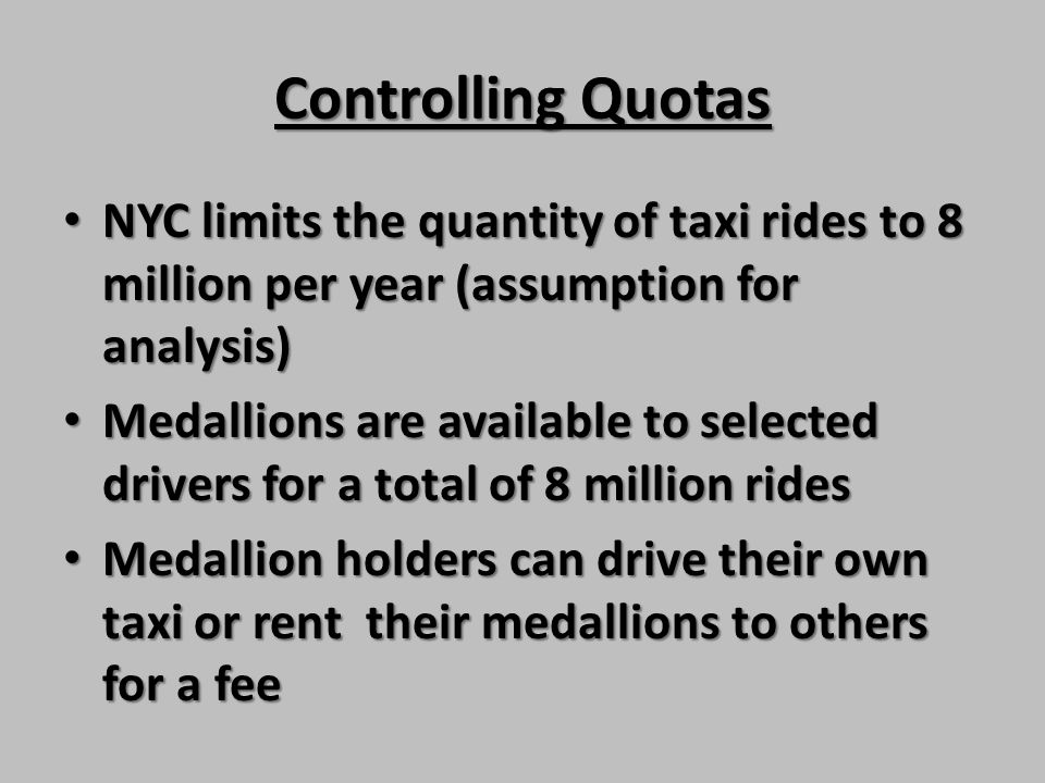 Controlling Quotas NYC limits the quantity of taxi rides to 8 million per year (assumption for analysis)